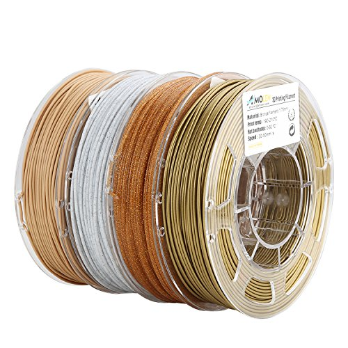 AMOLEN 3D Printer Filament Set, Bronze, Marble, Wood, Shining Gold, PLA Filament 1.75mm +/- 0.03 mm, 4x225g 3D Printing Materials for 3D Printer and 3D Pen