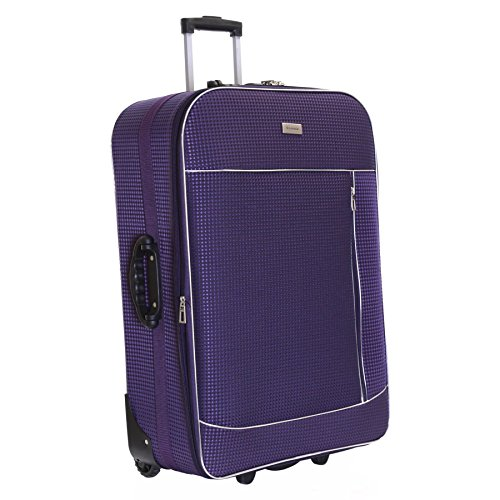 Slimbridge Extra Large Hold Luggage Suitcase Trolley Bag Expandable and Lightweight XL 77 cm 3.5 kg 100 litres with 2 Wheels & Integrated Number Lock, Rennes Purple