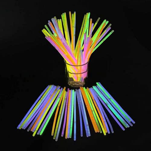 LifBetter 100 varillas luminosas de fluorescencia de colores con conectores, pulseras de neón, barras brillantes para bodas, fiestas de cumpleaños (7 colores)