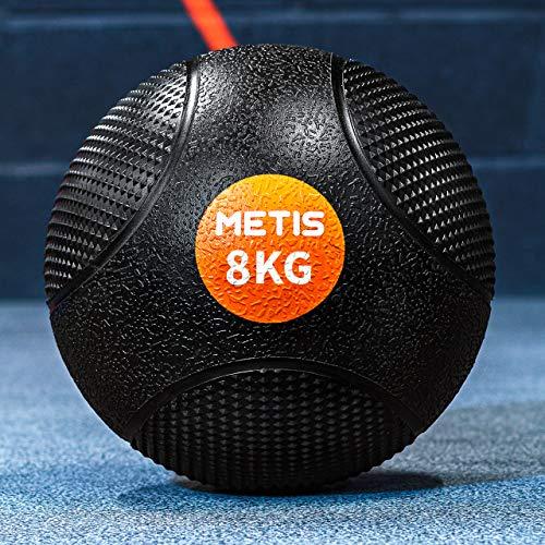 METIS Sfere mediche – da 1 kg a 10 kg   Home Fitness e Palestra Slam Ball – Finitura in Gomma Ruvida ad Alta Presa, 5kg