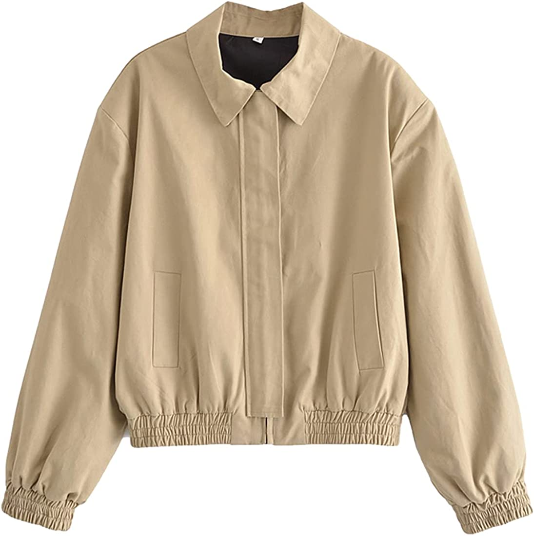 Omoone Women's Casual Jackets Zip Up Flight Bomber Lightweight Long Sleeve Softshell Coat