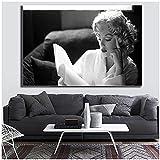 ZXYFBH-Cuadros Decoracion Salon modernos11.8x23.6in(30x60cm) x1pcs No Frame Abstracto Blanco y Negro Marilyn Monroe Famoso Lienzo Pintura Retrato Pared Arte Cartel Marco decoración del hogar