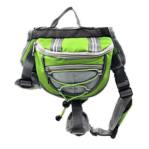 Qiujiam Hunderucksack Wanderausrüstung für Hunde Polyester Hundesatteltaschen Pack Hound Travel Camping Wanderrucksack Satteltasche für kleine, mittelgroße Hunde