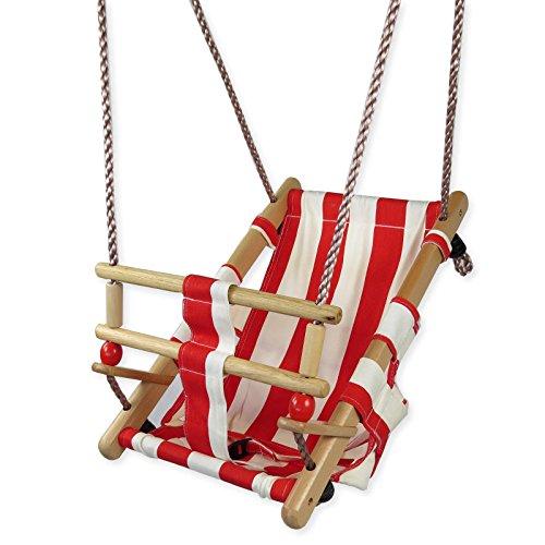 Gartenpirat Babyschaukel aus Holz und Stoff rot / weiß Babysitz Schaukelsitz