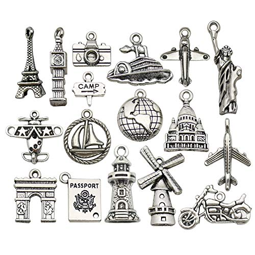 WOCRAFT 50pcs Wholesale Bulk Lots Travel Charms for Jewelry Making Mixed Smooth Tibetan Silver Metal Charms Pendants DIY for Jewelry Making Necklace Bracelet and Crafting (M353)
