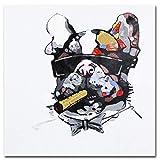 Xykhlj Bulldog con Gafas_DIY Pintura al óleo de por Números-Lienzo preimpreso-óleo Regalo para Adultos Niños Pintura por Numero Kits Decoración del Hogar_40x40cm Sin Marco