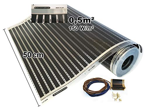 per riscaldamento a pavimento 230.00V Calorique Pellicola riscaldante a infrarossi 50 cm set 150 W//m2//lunghezza 1-8 m