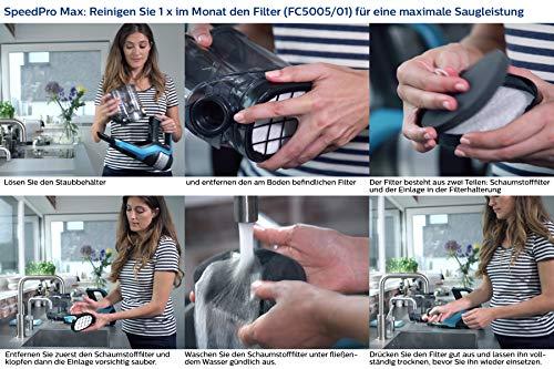 Philips XC7042/01 SpeedPro Max kabelloser Akku Staubsauger 7000 Series, 360°-Saugdüse, 65 Min. Akkulaufzeit, beutellos, inkl. Handstaubsauger, rot - 3