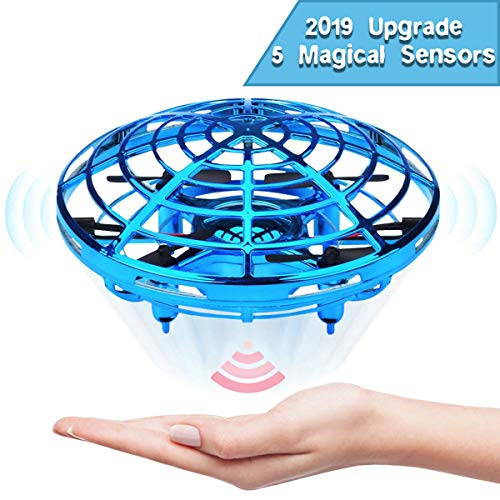 EKOHOME Hand Operated Drones for Kids and Adults, 2019 Upgraded Flying Ball Drone Toy with 5 Infrared Sensor 360°Rotating LED Lighting, Mini Quadcopter Flying Toys for Boys or Girls (Blue)