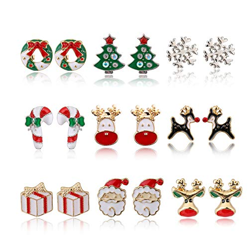 MTSCE 9-12 Pairs Women Christmas Earring Set, Cute Festive Jewelry Hypoallergenic Christmas Gifts for Kids Teens Girls (9 Pairs B Style)