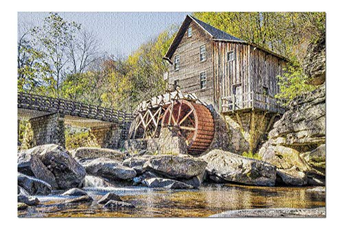 ugongchengyouxi West Virginia - Babcock State Park Alte Getreidemühle im Herbst verlassen mit Fluss 9018193 29,5 * 19,7 Zoll 1000-teiliges Puzzle