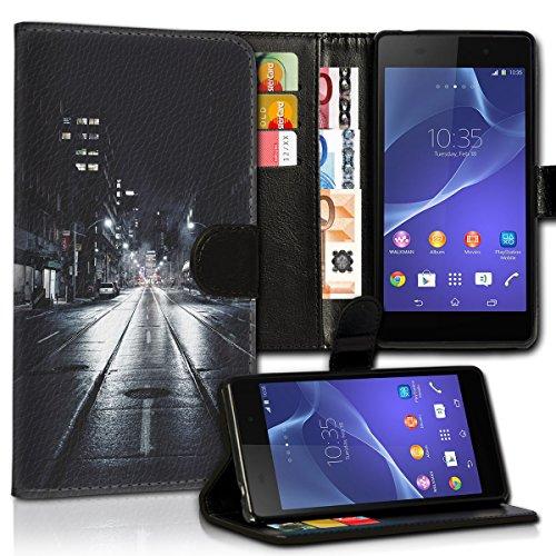 wicostar Book Style LG L Bello Premium PU-Leder Tasche Flip Brieftasche Handy Hülle Kartenfächer mit Standfunktion für LG L Bello - Design Flip MVC119