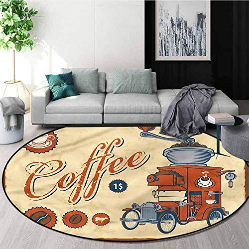Find Bargain RUGSMAT Retro Machine Washable Round Bath Mat,Truck Coffee Grinder Oriental Floor and C...