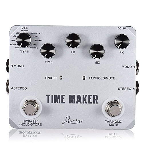 Rowin Time Maker 11 Types of Ultimate Delay Bass Guitar Effect Pedal Stereo with Tap Tempo