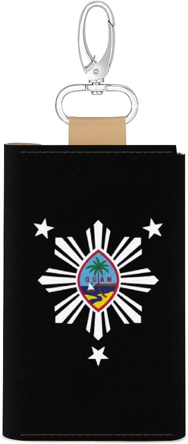 Guam Philippines Leather Key Holder Pouch 6 Hooks Key Organizer Card Wallet Keyring Keychain