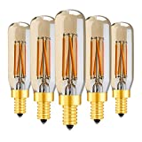 YSSMAO 5 Pezzi in Vetro Ambra T25 / T8 Lampada Tubolare Lampada a LED Lampadina 4W 2200K Retro LED Filamento E12 E14 Lampadina Lampadina Dimmerabile Chandelier Decorativo,E14 220v