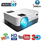 BORSSO™ Moon 7.1 HD Wi-Fi YouTube, LED Projector 3000 Lumens, HDMI USB VGA