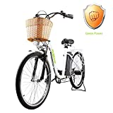 """NAKTO 26"""" City Electric Bicycle Assisted Bicycle for Women with Removable 36V 10A Large Capacity Lithium Battery and Charger"""