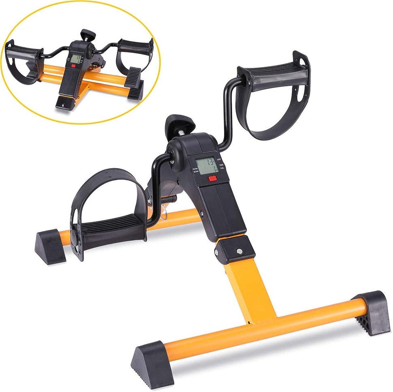 DYHQQ Pedaltrainer, Mini-Arm-Beintrainer Fahrrad Fitness-Radfahren mit LCD-Monitor, unter dem Schreibtisch-übungsgert - Vollstndig montiert Kein Werkzeug erforderlich