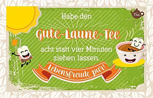 Habe den Gute-Laune-Tee acht statt vier Minuten ziehen lassen. Lebensfreude pur!: Teekarte