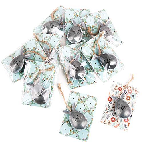 Logbuch-Verlag 10 Mini Geschenke zu Ostern - Vintage Osterhasen Silber mit Karte türkis - kleines Ostergeschenk Osterdeko Mitgebsel