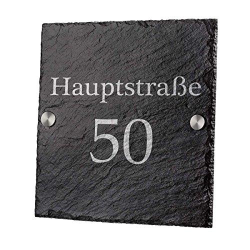 polar-effekt Hausnummerschild aus Schiefertafel - Türschild Personalisiert mit Gravur - Geschenk zum Einzug - Schieferplatte 20x20 cm Namensschild - Motiv Straßenname und Hausnummer