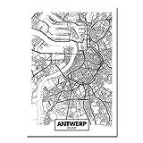 JWJQTLD Leinwanddruck,Schwarz Weiß Antwerpen Stadtplan