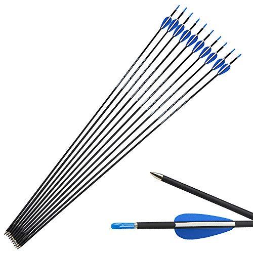 SHARROW Carbonpfeile 32 Zoll Carbon Pfeile Zielpfeile Jagdpraxis Pfeil für Anfänger Jagdpfeile Spine 1200 Bogenpfeile für Compound und Recurvebogen (12)
