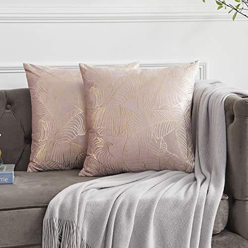 OMMATO Funda de Cojín 55x55 cm Decorativa Impresión de Oro Almohada Cojines de Fundas para Sofá Silla Cama Sala de Estar Dormitorio 2 Juegos Rosa Rubor