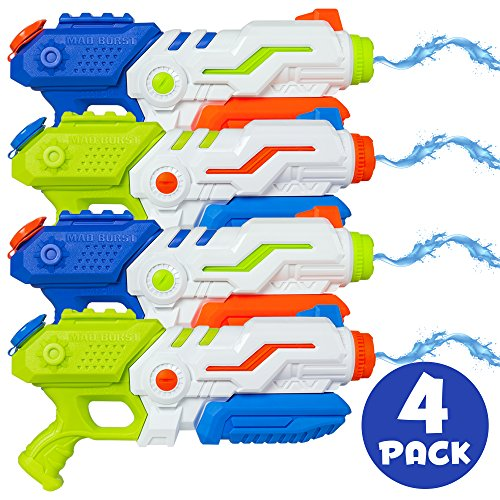 Best Choice Products Set of 4 Kids Outdoor Multicolor Water Blasters w/ Pump-Action, 1.3L Capacity, 20ft Range