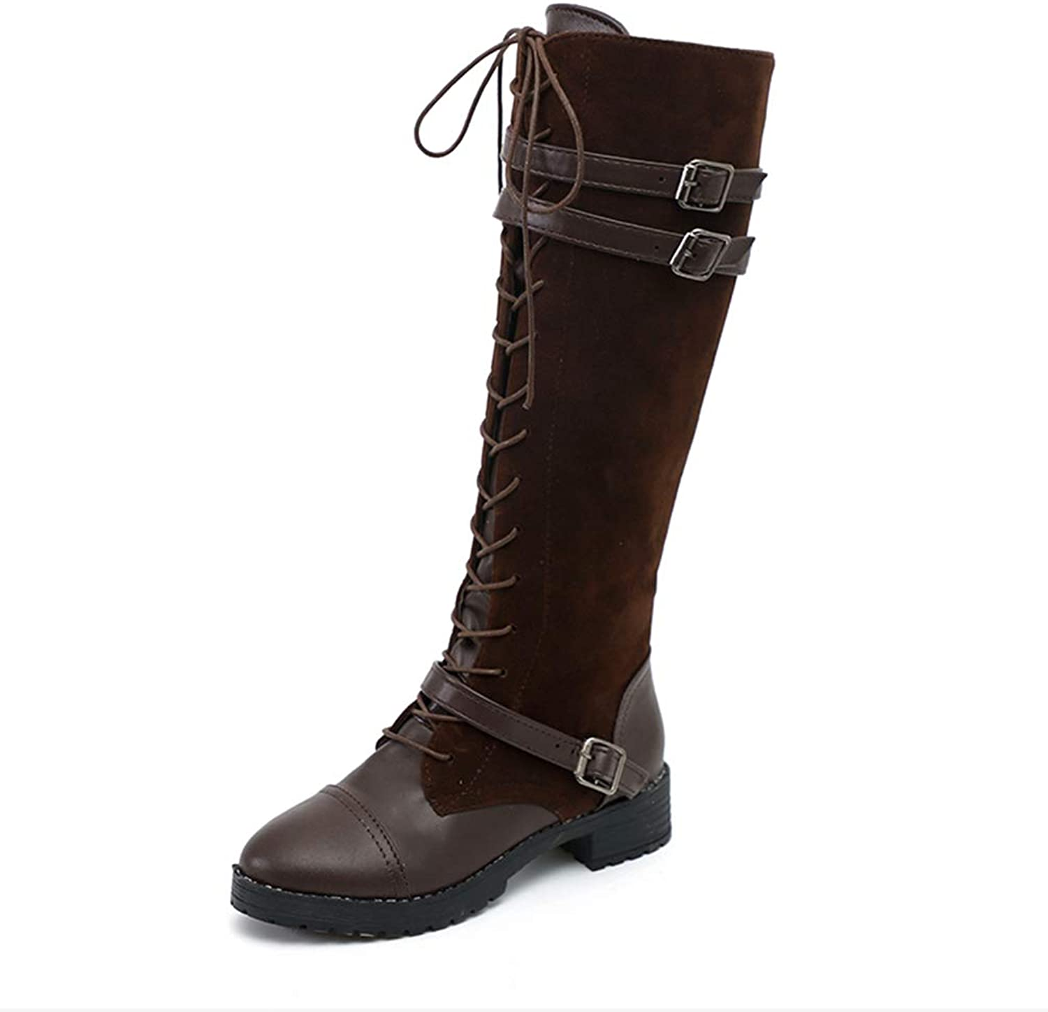 Zarbrina Womens Mid Calf Boots Lace-Up Adjustable Buckled Straps Lycra Flexible Slip On Winter Warm Martin shoes