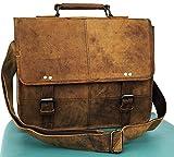 AOL Buffalo Leather Distressed Brown Messenger Bag Shoulder Bag 13.5 inch Laptop Bag Collage Bag
