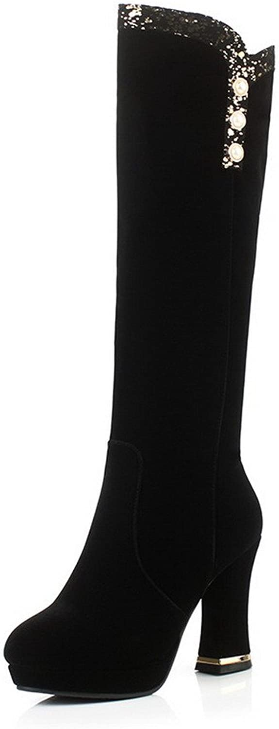 WeiPoot Women's Round Toe Closed Toe Imitated Suede Zipper High-Heels High-Top Boots