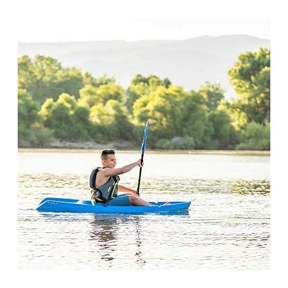 Lifetime Youth Wave Kayak (Paddle Included), Blue, 6' 8 Ergonomic Cockpit Design Enhances Balance and Motor Skills Molded finger handles on each side of the kayak Reverse chine for enhanced stability with swim-up step