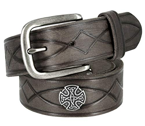 382000-3588-9977 Antique Buckle with Celtic Conchos Embossed Tooled Genuine Leather Belt 1-1/2'(38mm) Wide Gray, 36