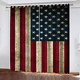 RXWZRL Cortinas Salon Modernas 2 Piezas 3D Bandera Americana Vintage Estampadas Cortinas Opacas Termicas Aislantes Frio Y Calor para Habitacion Dormitorio Decoración De La Ventana 140X260cm