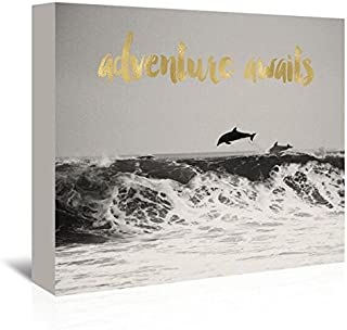 Americanflat 'Dolphins Adventure Awaits Gold on Black & White Photo' Gallery Wrapped Canvas Artwork by Amy Brinkman, 20