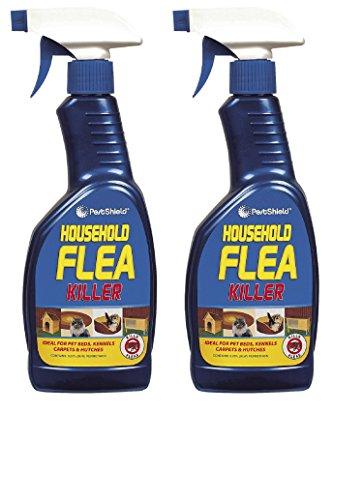 2 x 500 ml escudo de plagas hogar pulgas matar spray ideal para gato perro cama perreras cabreras muebles suaves
