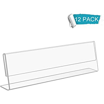 Sign Holder with Horizontal Name Plate Acrylic Clear 8 x 2 Inches 10 Pieces
