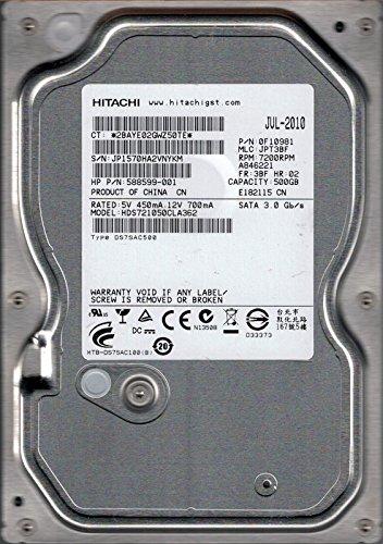 Hitachi HDS721050CLA362P/N: 0F10981MLC: jpt3bf 500GB