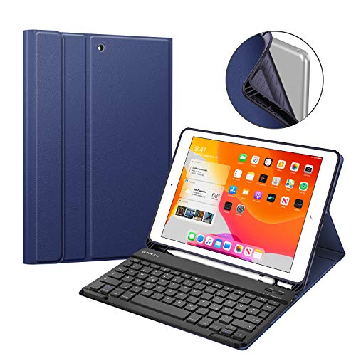 Fintie Tastatur Hülle für iPad 10.2 Zoll 7. Generation 2019, Soft TPU Rückseite Gehäuse Schutzhülle mit Pencil Halter, magnetisch Abnehmbarer Bluetooth Tastatur mit QWERTZ Layout, Marineblau