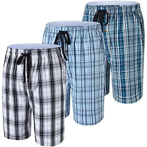 JINSHI Hommes Bas de Pyjama Shorts Salon Coton Sommeil Pantacourt Vêtement d'Intérieur Nuit avec Bouton Lot de 3 Taille 2XL