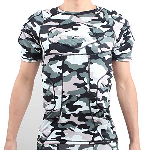 Men's Short Sleeve Goalkeeper Padded Shirt Football Protective Gear Set Training Camo Suit for Soccer Rugby Basketball Paintball Rib Protector Shirt