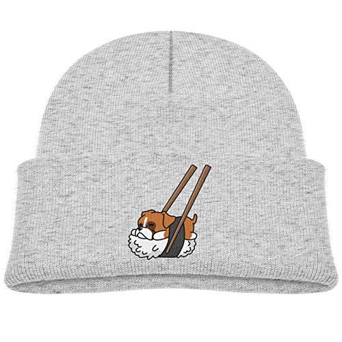 SHUANGFEI Kids Knitted Beanie Hats,Sushi Dachshund,Skull Cap Winter Hip-hop Hat Headwear for Boys Girls Baby Gray