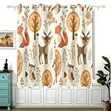 Autumn Forest Jungle Animal Fox Deer Rabbit Curtains for Children Bedroom,Eyelet Blackout Curtains for Nursery/Short Window for Home Decor,54£¨H£©x 55(W) in,2 Panels