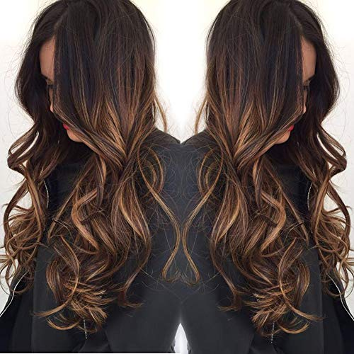 Long Brazilian Human Hair Lace Front Wigs For Black Women Highlights Color Ombre Glueless Lace Real Hair Wigs With Baby Hair 130% Density 20inch