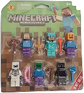 Minecraft Action Figures with Weapons (Pack of 6)