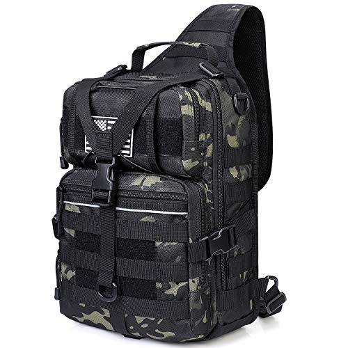 G4Free Outdoor Tactical Small Assault Backpack Military Shoulder Sling Bag One Strap Molle Chest Pack for Camping Hiking Trekking (Black CP)