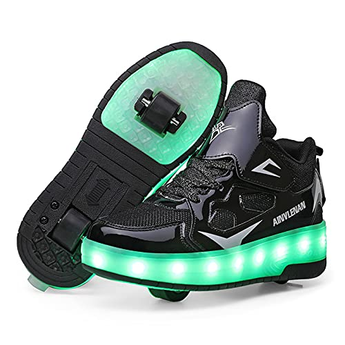 MNVOA USB Automática Ruedas Ajustables LED Zapatillas con Luces Ruedas Color Deporte Zapatos de Skate Roller Deportivos Zapatos Trainers Monopatín Sneaker para Niños Niñas,Negro,31EU