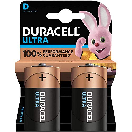 DURACELL Batterie Alkaline, Mono, D, LR20, 1.5V Ultra Power, Powercheck, Retail Blister (2-Pack)